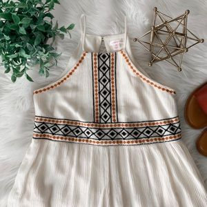 Cream Embroidered Romper (with pockets)